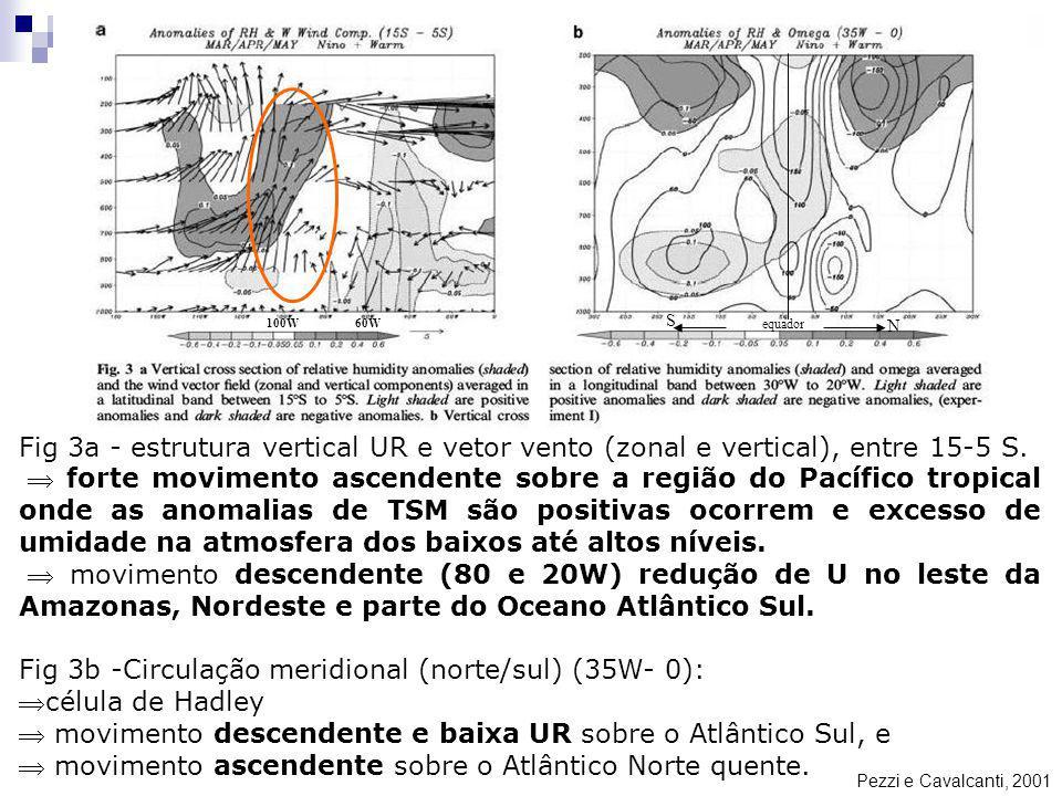 Pezzi e Cavalcanti, 2001 Fig 3a - estrutura vertical UR e vetor vento (zonal e vertical), entre 15-5 S. forte movimento ascendente sobre a região do P