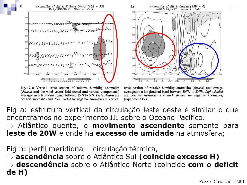 Pezzi e Cavalcanti, 2001 Fig a: estrutura vertical da circulação leste-oeste é similar o que encontramos no experimento III sobre o Oceano Pacífico. A