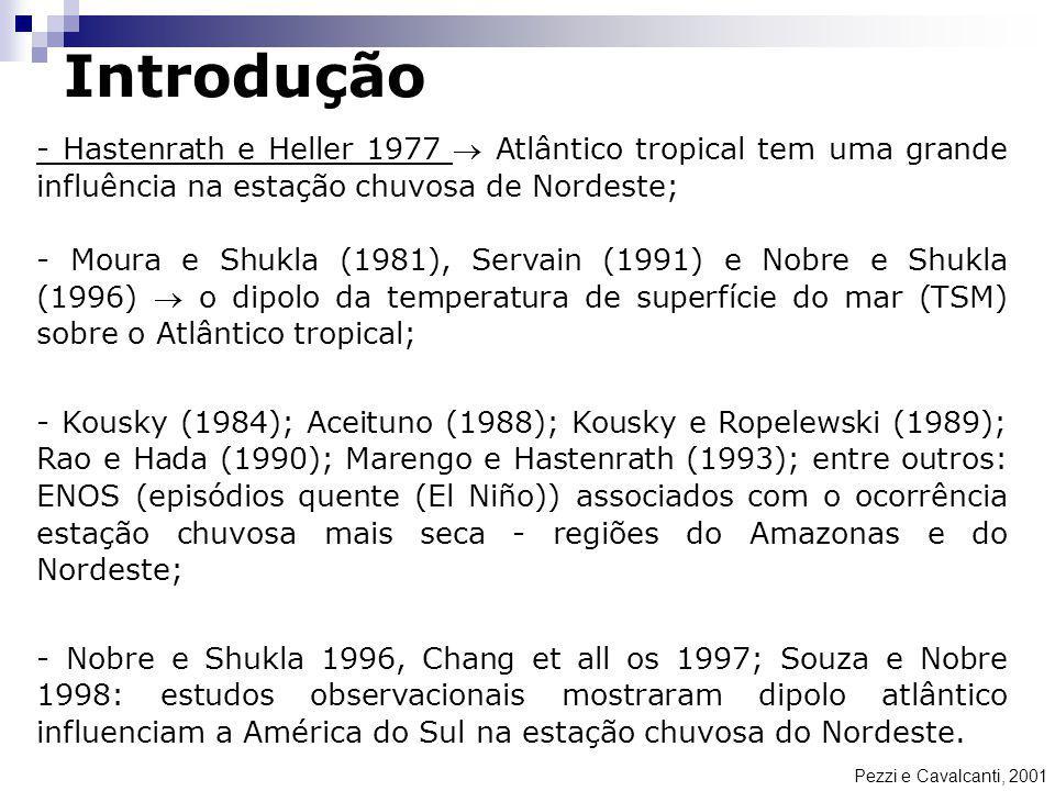 Introdução Pezzi e Cavalcanti, 2001 - Hastenrath e Heller 1977 Atlântico tropical tem uma grande influência na estação chuvosa de Nordeste; - Moura e