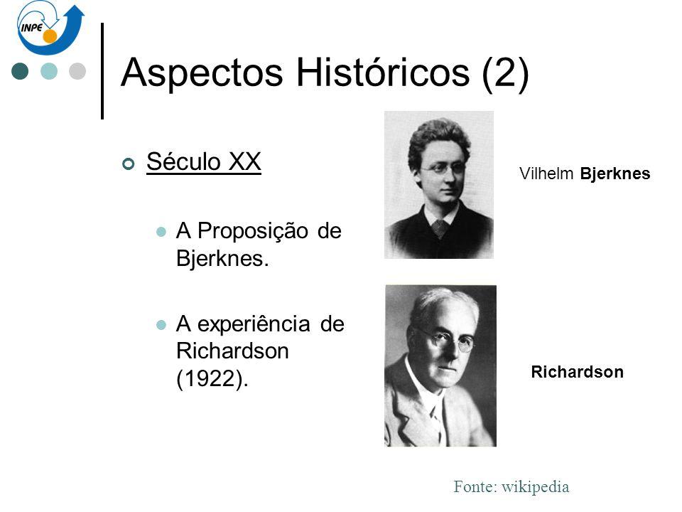 Aspectos Históricos (2) Século XX A Proposição de Bjerknes. A experiência de Richardson (1922). Richardson Vilhelm Bjerknes Fonte: wikipedia