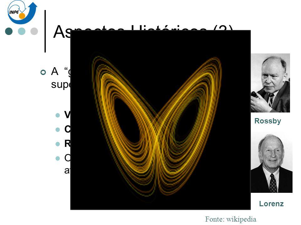 Aspectos Históricos (3) A geração supercomputador: Von Neuman Charney. Rossby. Os estranhos atratores de Lorenz. Rossby Lorenz Charney Von Neuman Font