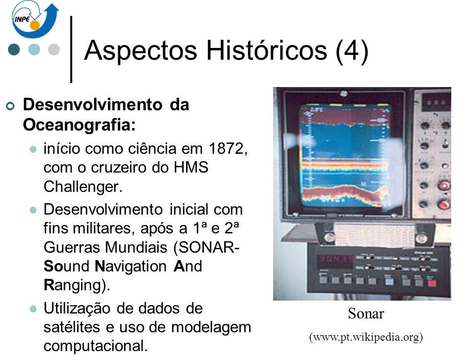 Aspectos Históricos (4) Desenvolvimento da Oceanografia: início como ciência em 1872, com o cruzeiro do HMS Challenger. Desenvolvimento inicial com fi