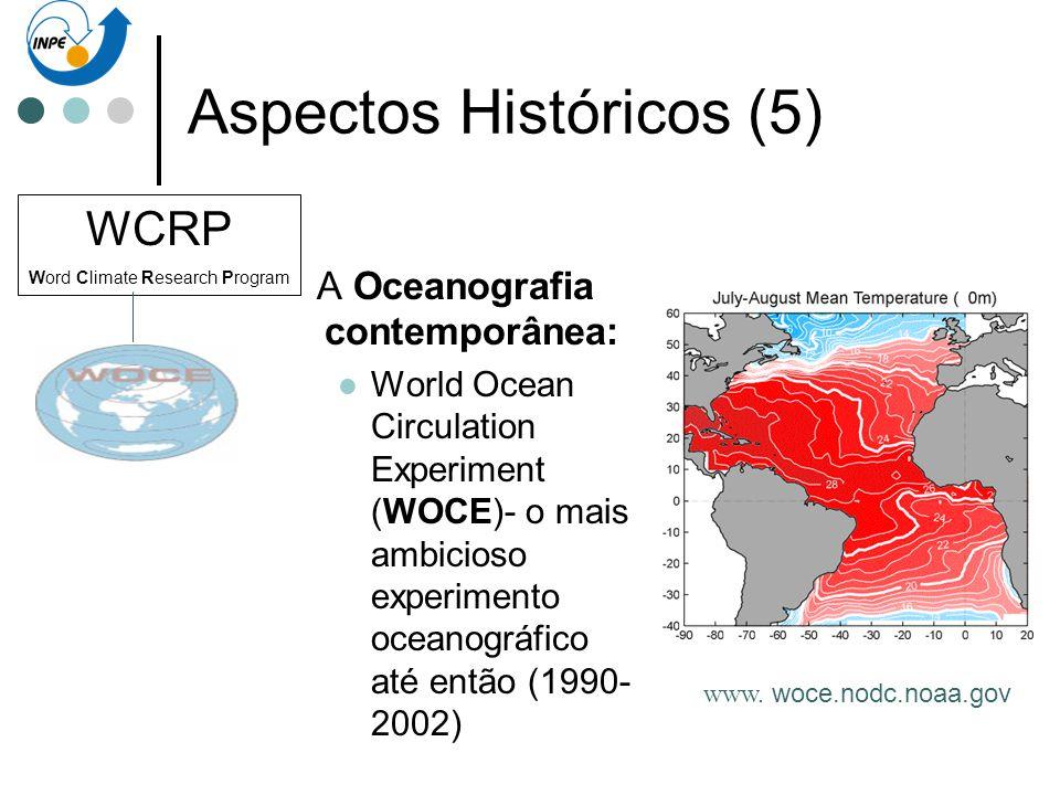 Aspectos Históricos (5) A Oceanografia contemporânea: World Ocean Circulation Experiment (WOCE)- o mais ambicioso experimento oceanográfico até então