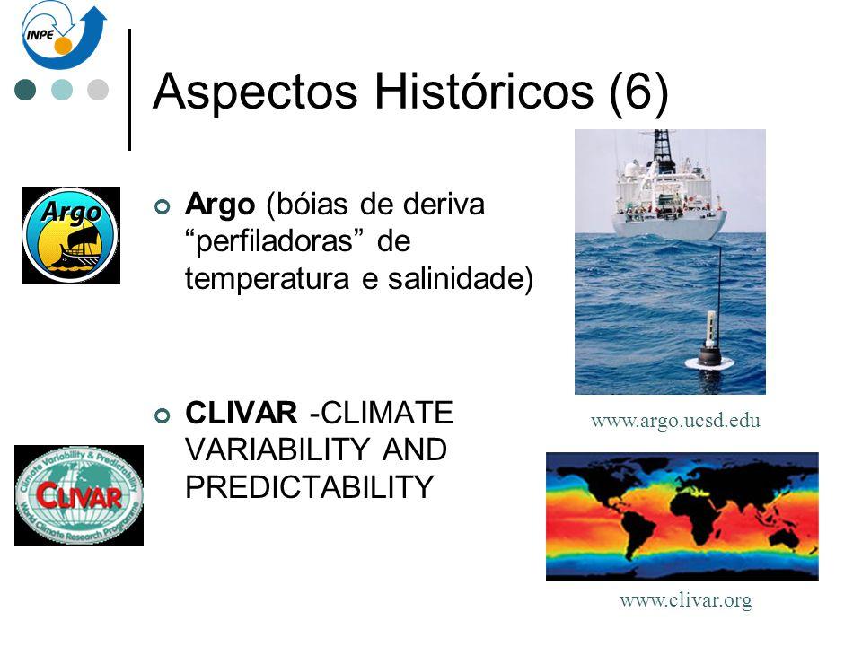 Aspectos Históricos (6) Argo (bóias de deriva perfiladoras de temperatura e salinidade) CLIVAR -CLIMATE VARIABILITY AND PREDICTABILITY www.argo.ucsd.e