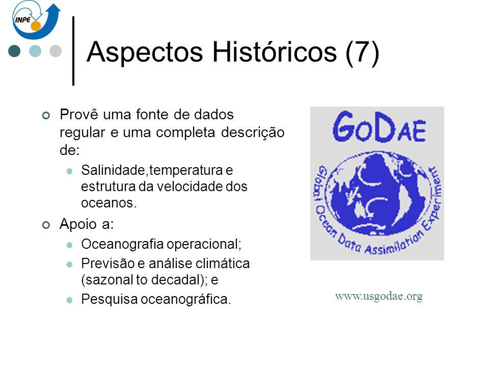 Aspectos Históricos (7) Provê uma fonte de dados regular e uma completa descrição de: Salinidade,temperatura e estrutura da velocidade dos oceanos. Ap