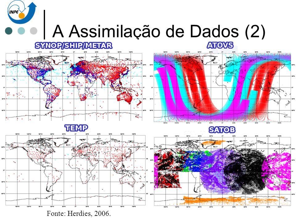 A Assimilação de Dados (2) Aspectos de Modelagem numérica da atmosfera. Problemas de valor inicial Falta de dados (graus de liberdade = 10 7 ) Dados a