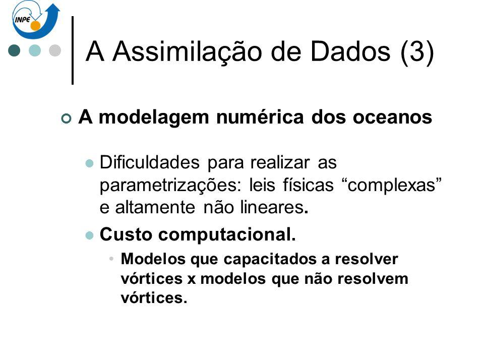 A Assimilação de Dados (3) A modelagem numérica dos oceanos Dificuldades para realizar as parametrizações: leis físicas complexas e altamente não line