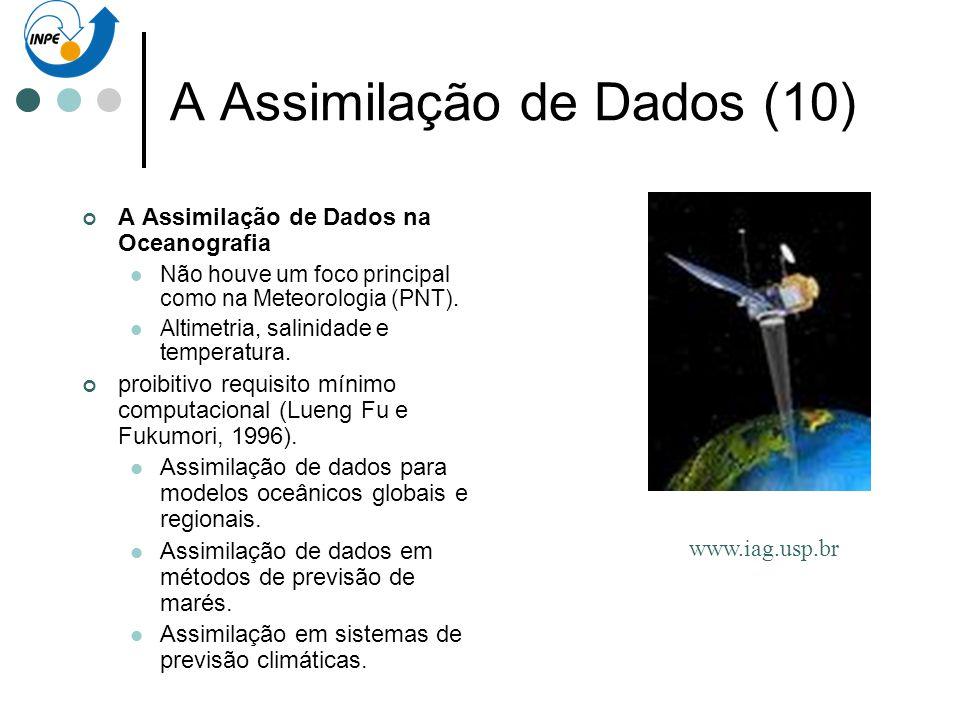 A Assimilação de Dados (10) A Assimilação de Dados na Oceanografia Não houve um foco principal como na Meteorologia (PNT). Altimetria, salinidade e te