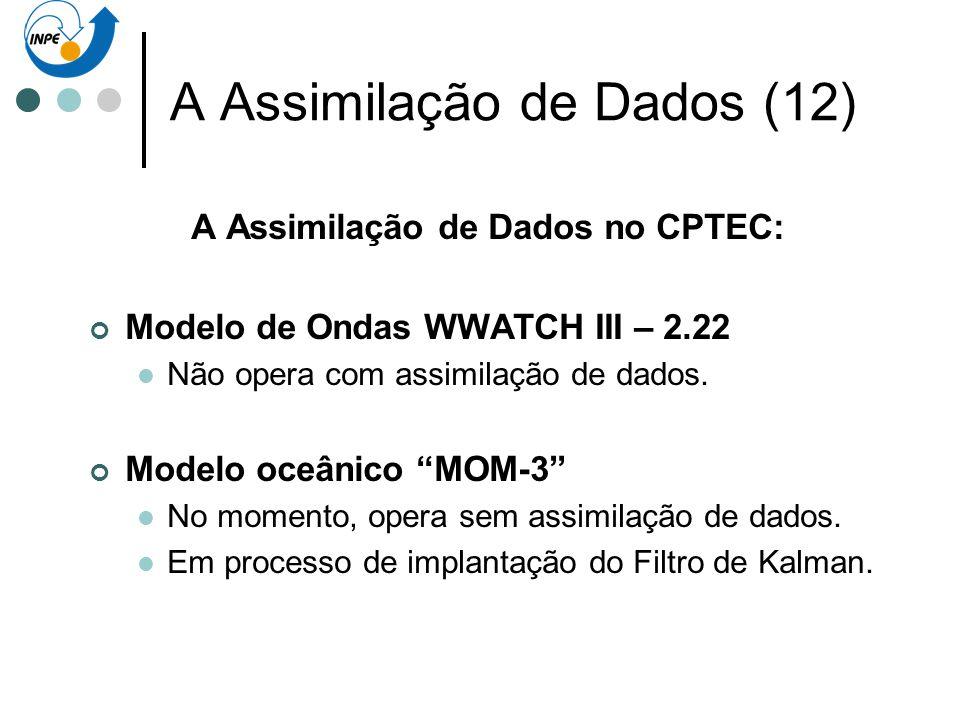 A Assimilação de Dados (12) A Assimilação de Dados no CPTEC: Modelo de Ondas WWATCH III – 2.22 Não opera com assimilação de dados. Modelo oceânico MOM