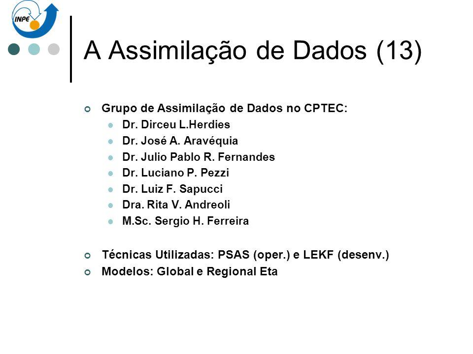 A Assimilação de Dados (13) Grupo de Assimilação de Dados no CPTEC: Dr. Dirceu L.Herdies Dr. José A. Aravéquia Dr. Julio Pablo R. Fernandes Dr. Lucian
