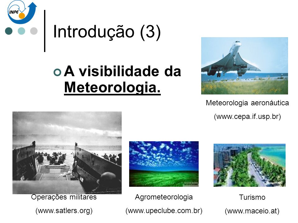 Introdução (3) A visibilidade da Meteorologia. Meteorologia aeronáutica (www.cepa.if.usp.br) Agrometeorologia (www.upeclube.com.br) Turismo (www.macei