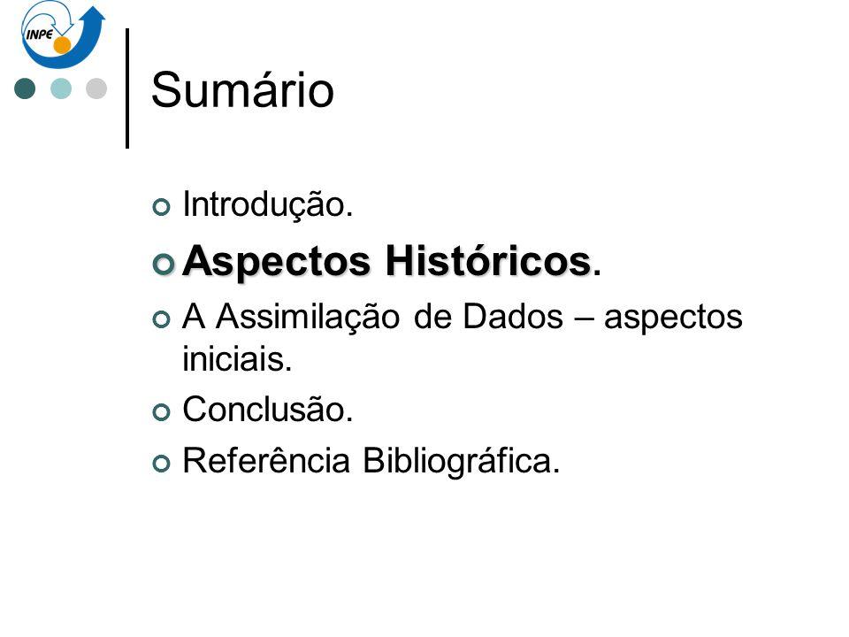 Sumário Introdução. Aspectos Históricos Aspectos Históricos. A Assimilação de Dados – aspectos iniciais. Conclusão. Referência Bibliográfica.