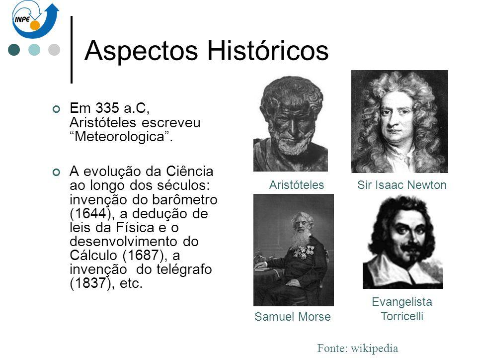 Aspectos Históricos Em 335 a.C, Aristóteles escreveu Meteorologica. A evolução da Ciência ao longo dos séculos: invenção do barômetro (1644), a deduçã
