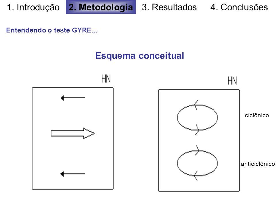 1. Introdução 2. Metodologia3. Resultados4. Conclusões Esquema conceitual Entendendo o teste GYRE... ciclônico anticiclônico