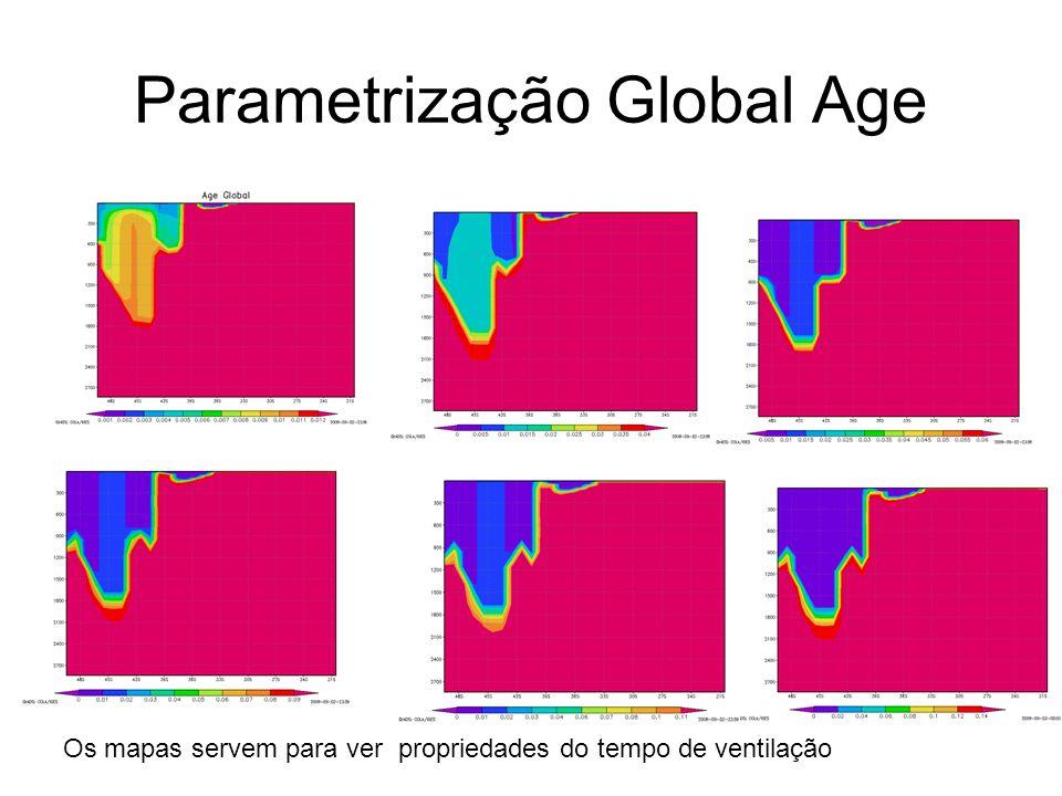 Parametrização Global Age Os mapas servem para ver propriedades do tempo de ventilação