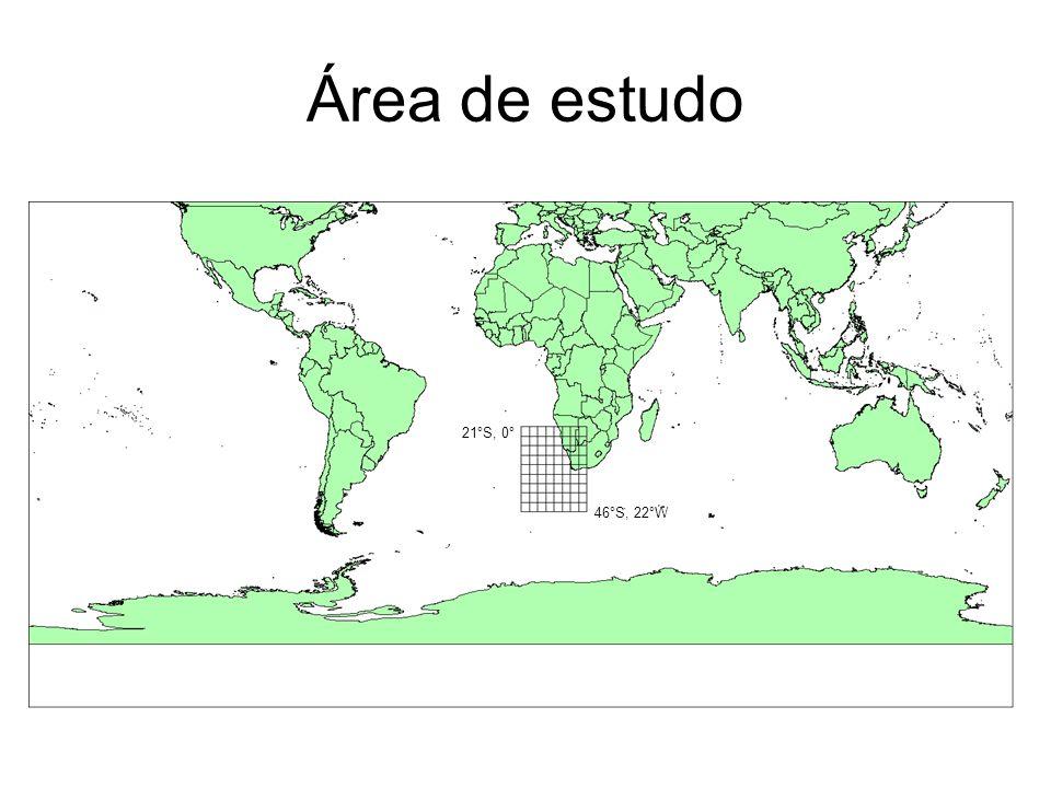 Área de estudo 21°S, 0° 46°S, 22°W