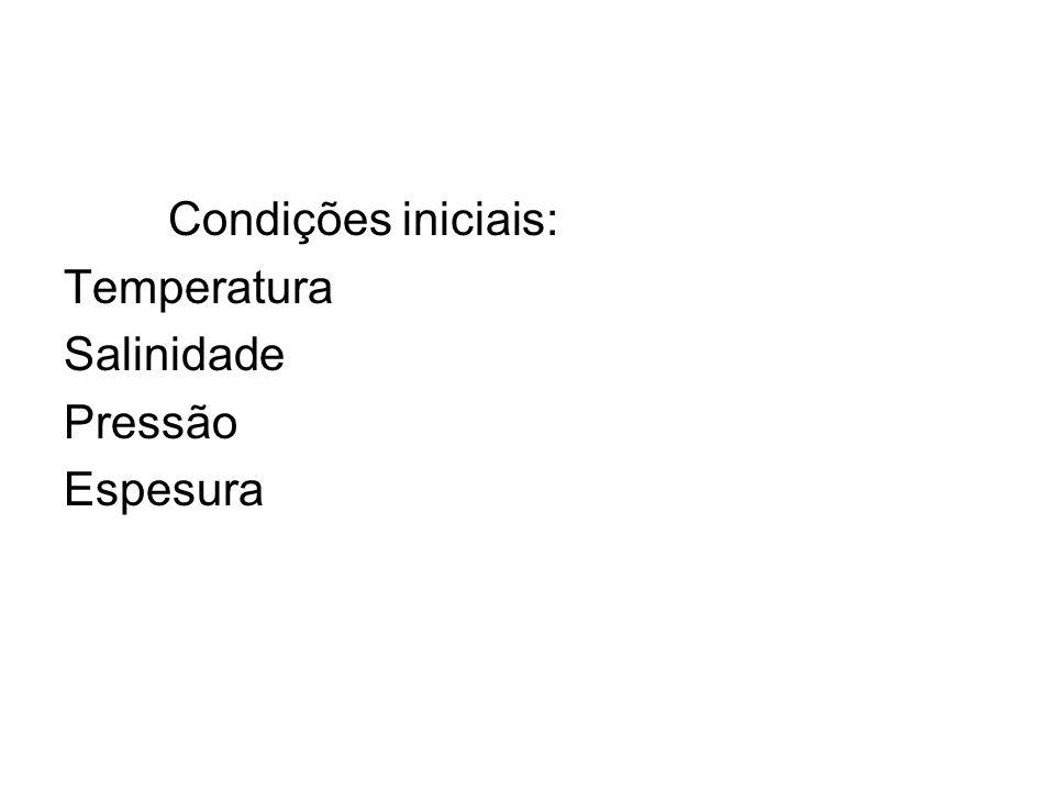 Condições iniciais: Temperatura Salinidade Pressão Espesura