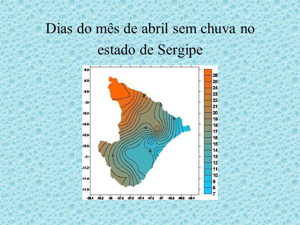 Dias do mês de abril sem chuva no estado de Sergipe
