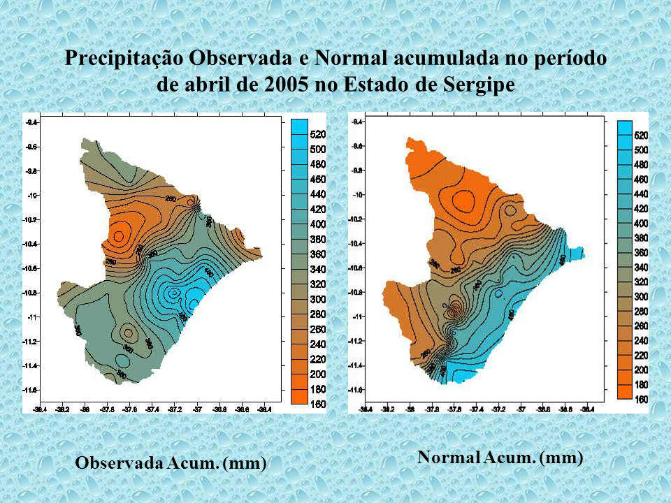 Precipitação Observada e Normal acumulada no período de abril de 2005 no Estado de Sergipe Observada Acum. (mm) Normal Acum. (mm)