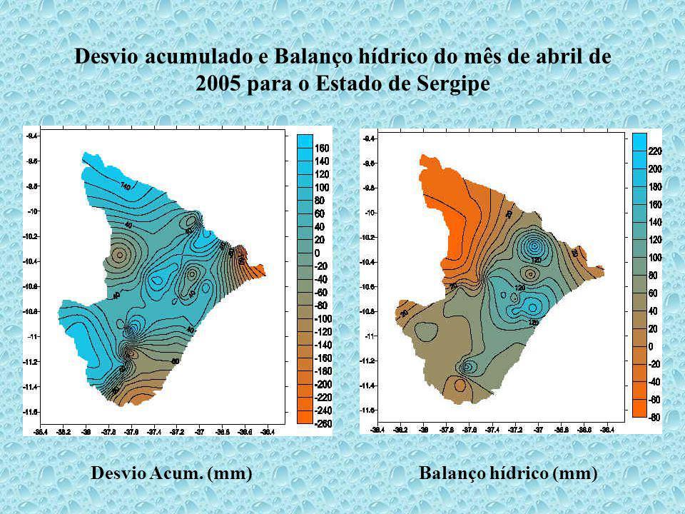 Desvio acumulado e Balanço hídrico do mês de abril de 2005 para o Estado de Sergipe Desvio Acum. (mm)Balanço hídrico (mm)