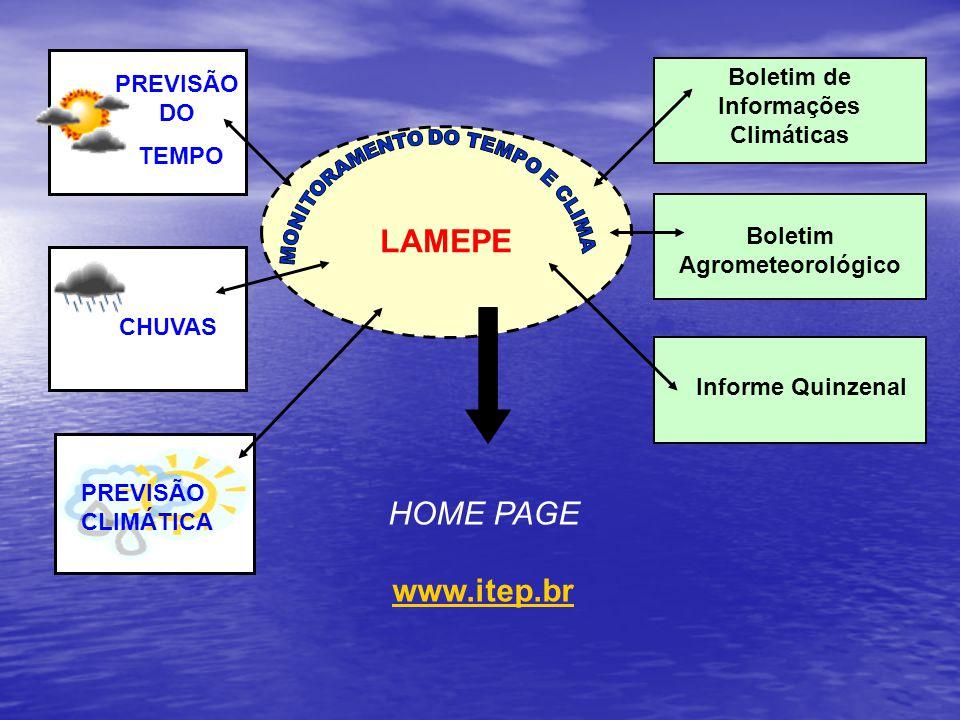 LAMEPE Boletim de Informações Climáticas Boletim Agrometeorológico Informe Quinzenal PREVISÃO DO TEMPO CHUVAS PREVISÃO CLIMÁTICA HOME PAGE www.itep.br