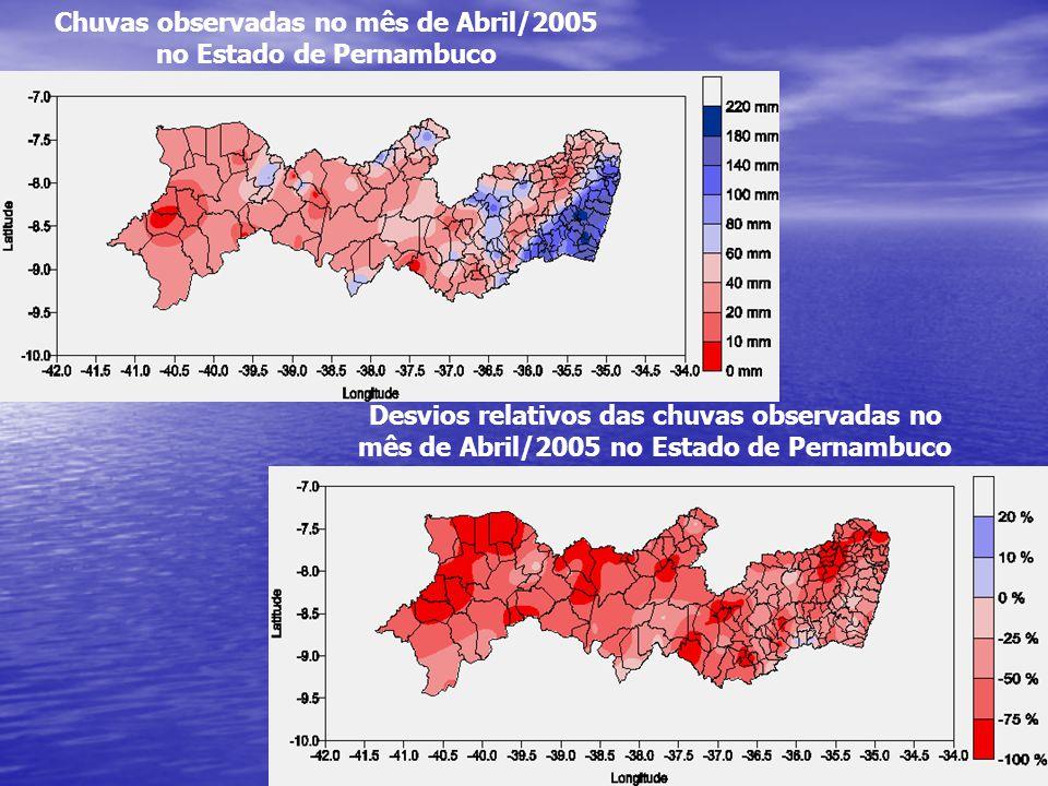 Chuvas observadas no mês de Abril/2005 no Estado de Pernambuco Desvios relativos das chuvas observadas no mês de Abril/2005 no Estado de Pernambuco