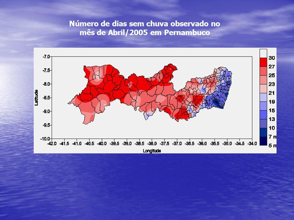 Número de dias sem chuva observado no mês de Abril/2005 em Pernambuco