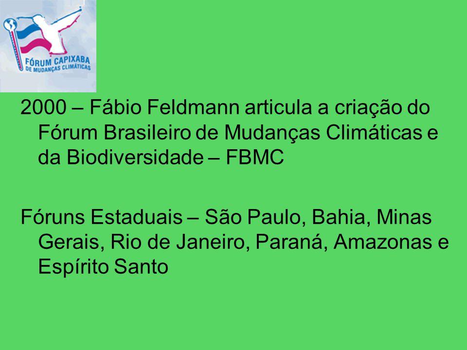 2000 – Fábio Feldmann articula a criação do Fórum Brasileiro de Mudanças Climáticas e da Biodiversidade – FBMC Fóruns Estaduais – São Paulo, Bahia, Minas Gerais, Rio de Janeiro, Paraná, Amazonas e Espírito Santo