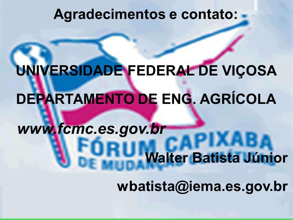 Agradecimentos e contato: UNIVERSIDADE FEDERAL DE VIÇOSA DEPARTAMENTO DE ENG.