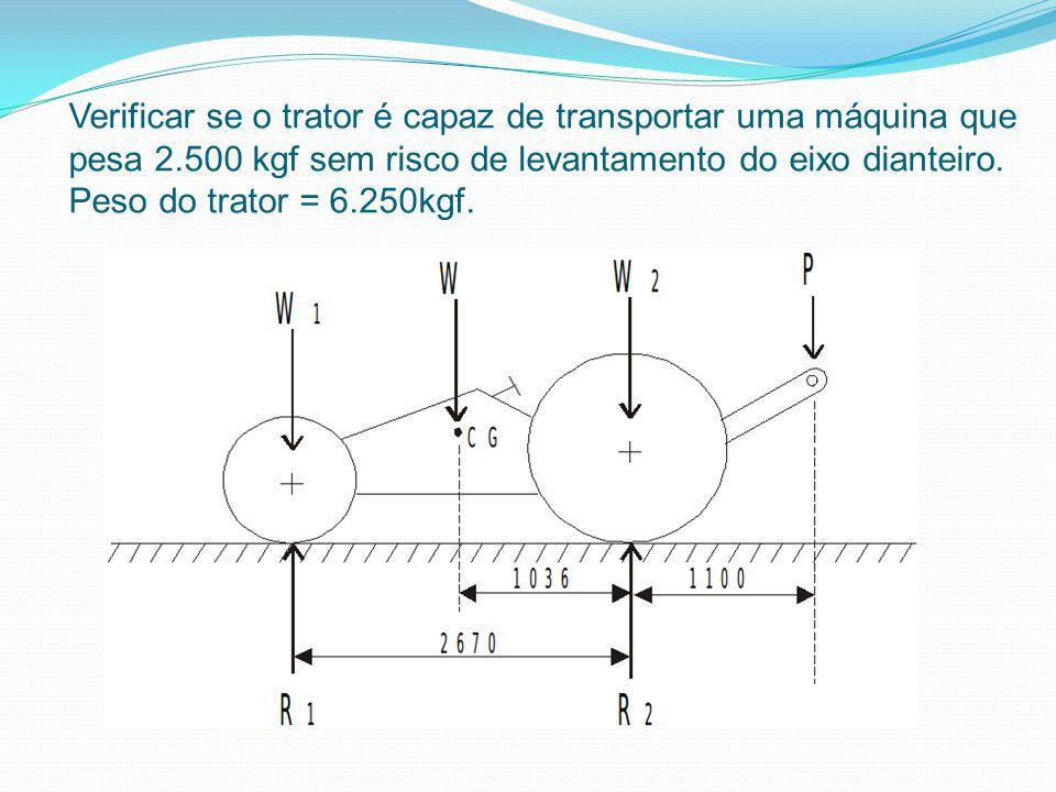 Verificar se o trator é capaz de transportar uma máquina que pesa 2.500 kgf sem risco de levantamento do eixo dianteiro. Peso do trator = 6.250kgf.