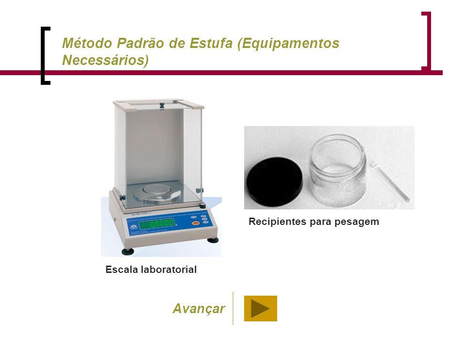 Escala laboratorial Recipientes para pesagem Método Padrão de Estufa (Equipamentos Necessários) Avançar