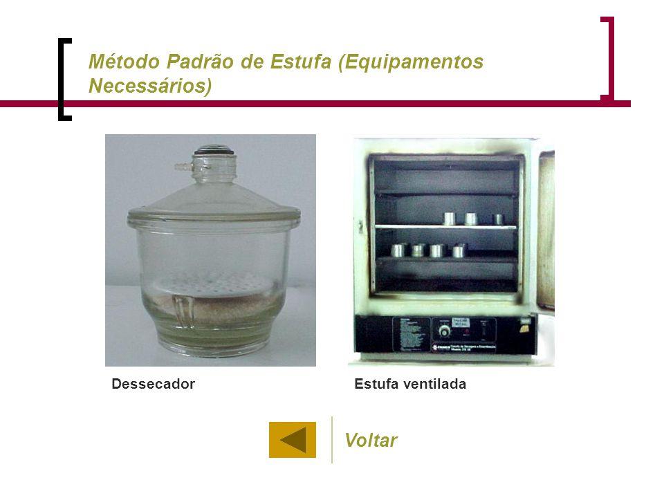 Estufa ventiladaDessecador Voltar Método Padrão de Estufa (Equipamentos Necessários)
