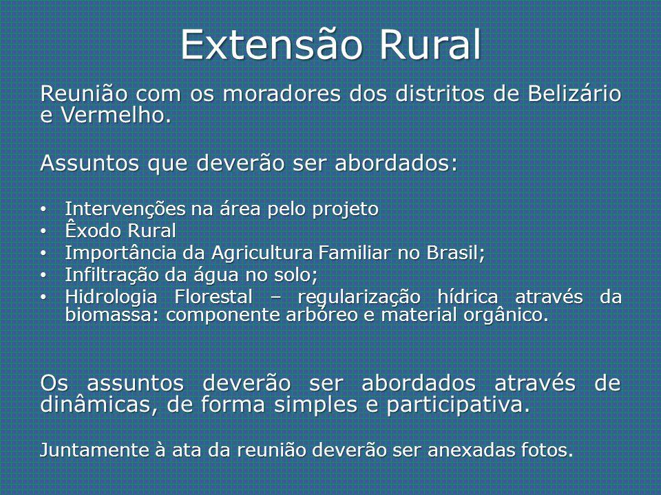 Extensão Rural Reunião com os moradores dos distritos de Belizário e Vermelho. Assuntos que deverão ser abordados: Intervenções na área pelo projeto I
