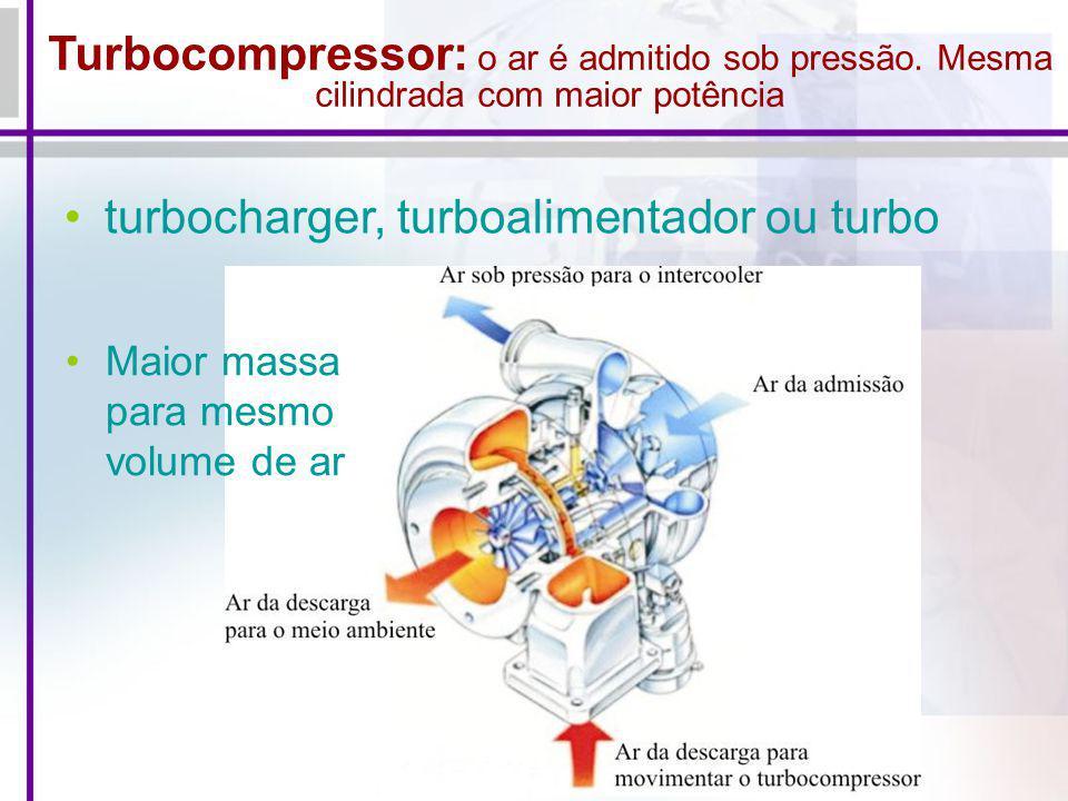 Turbocompressor: o ar é admitido sob pressão. Mesma cilindrada com maior potência turbocharger, turboalimentador ou turbo Maior massa para mesmo volum