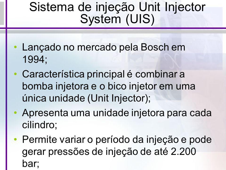 Sistema de injeção Unit Injector System (UIS) Lançado no mercado pela Bosch em 1994; Característica principal é combinar a bomba injetora e o bico inj