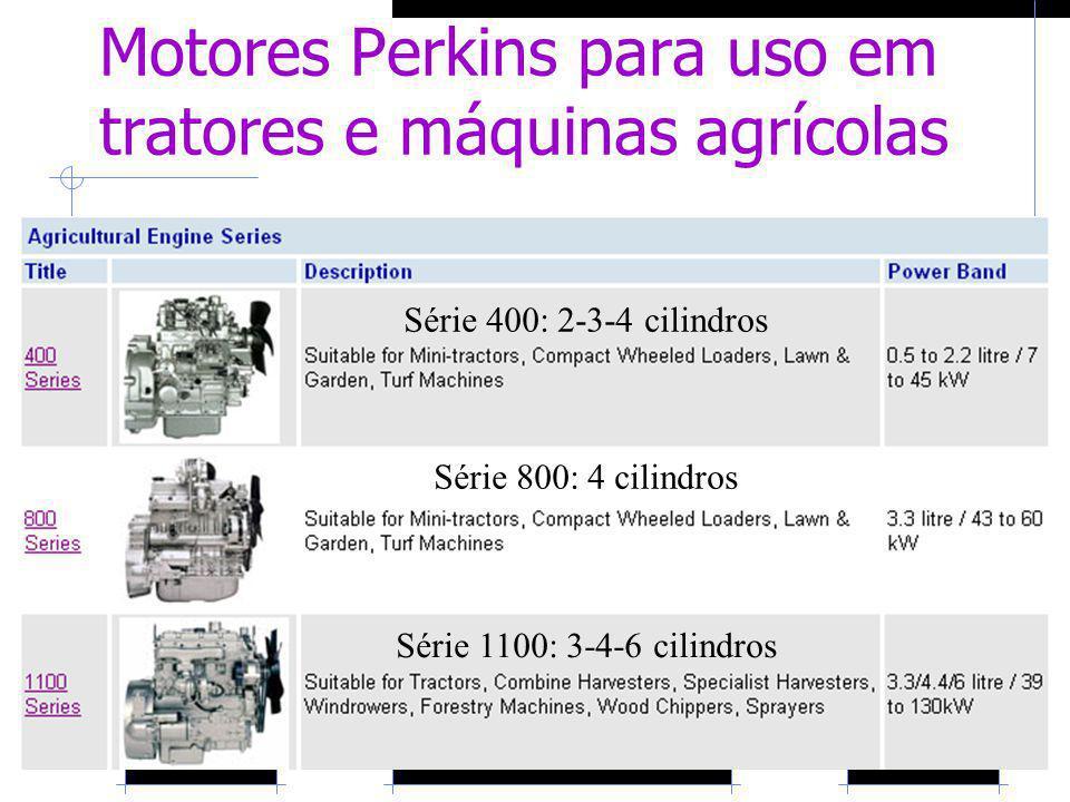 Motores Perkins para uso em tratores e máquinas agrícolas Série 400: 2-3-4 cilindros Série 800: 4 cilindros Série 1100: 3-4-6 cilindros