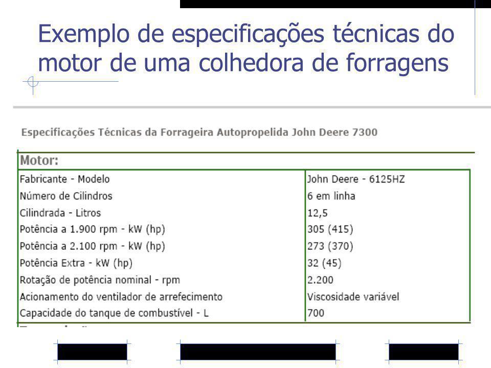 Exemplo de especificações técnicas do motor de uma colhedora de forragens