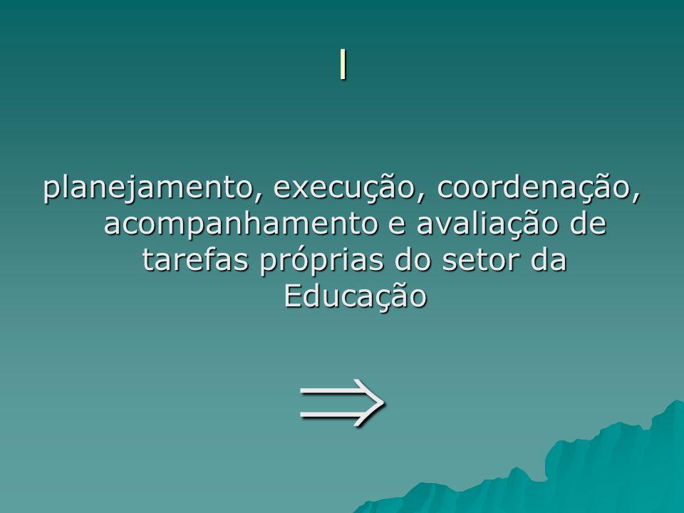 I planejamento, execução, coordenação, acompanhamento e avaliação de tarefas próprias do setor da Educação