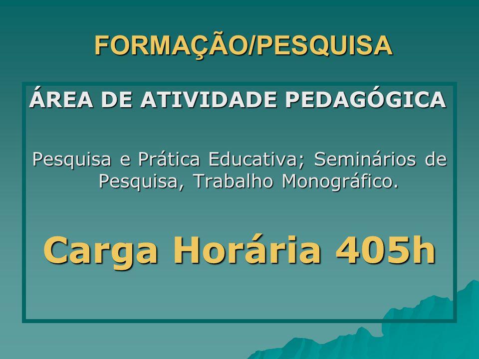 FORMAÇÃO/PESQUISA FORMAÇÃO/PESQUISA ÁREA DE ATIVIDADE PEDAGÓGICA Pesquisa e Prática Educativa; Seminários de Pesquisa, Trabalho Monográfico. Carga Hor