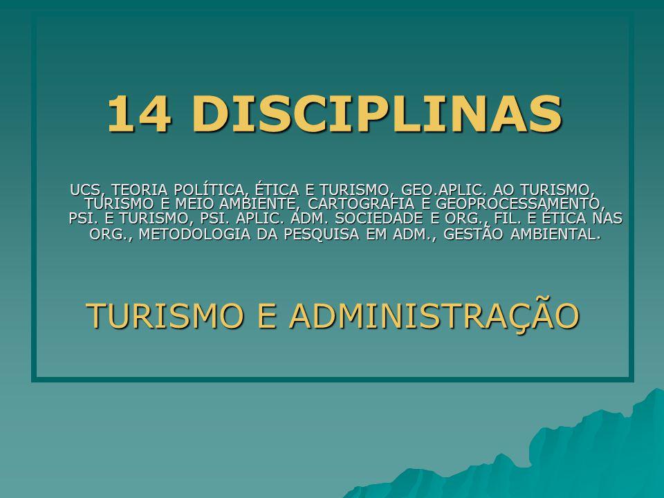 14 DISCIPLINAS UCS, TEORIA POLÍTICA, ÉTICA E TURISMO, GEO.APLIC. AO TURISMO, TURISMO E MEIO AMBIENTE, CARTOGRAFIA E GEOPROCESSAMENTO, PSI. E TURISMO,