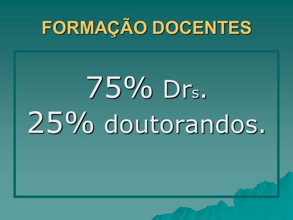 FORMAÇÃO DOCENTES 75% Dr s. 25% doutorandos.