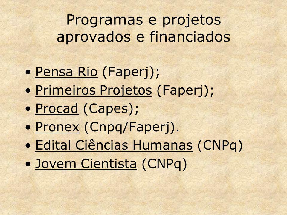 Programas e projetos aprovados e financiados Pensa Rio (Faperj); Primeiros Projetos (Faperj); Procad (Capes); Pronex (Cnpq/Faperj). Edital Ciências Hu