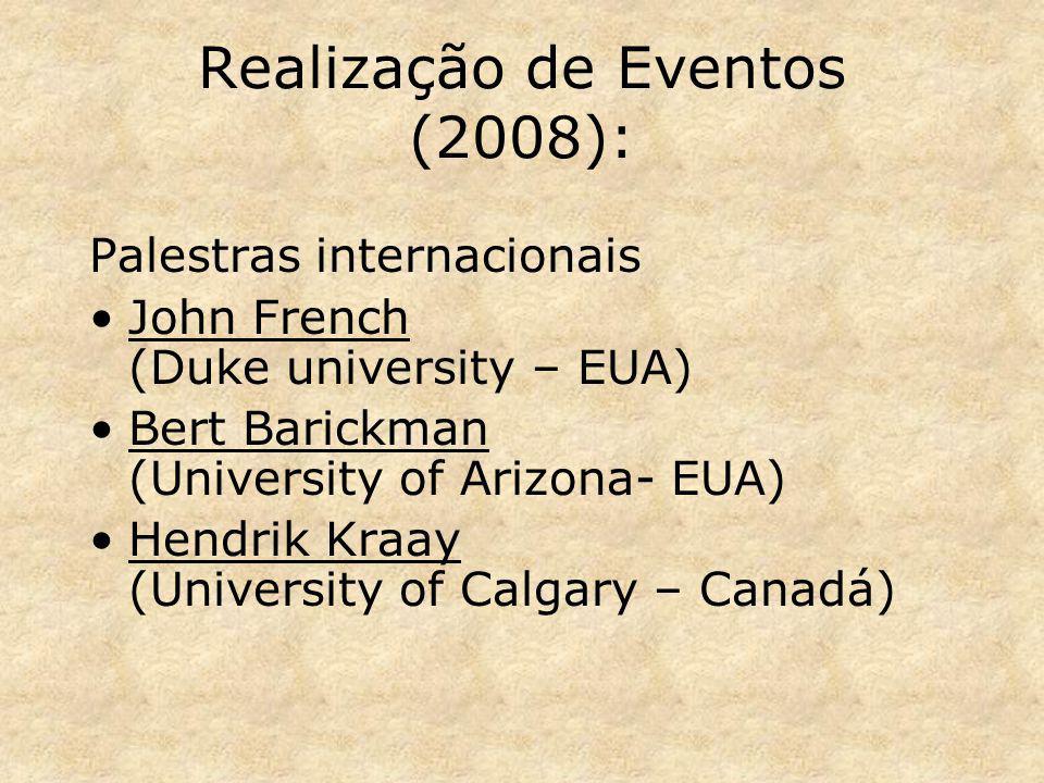 Realização de Eventos (2008): Palestras internacionais John French (Duke university – EUA) Bert Barickman (University of Arizona- EUA) Hendrik Kraay (University of Calgary – Canadá)