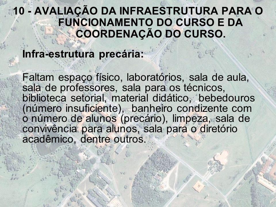 10 - AVALIAÇÃO DA INFRAESTRUTURA PARA O FUNCIONAMENTO DO CURSO E DA COORDENAÇÃO DO CURSO.