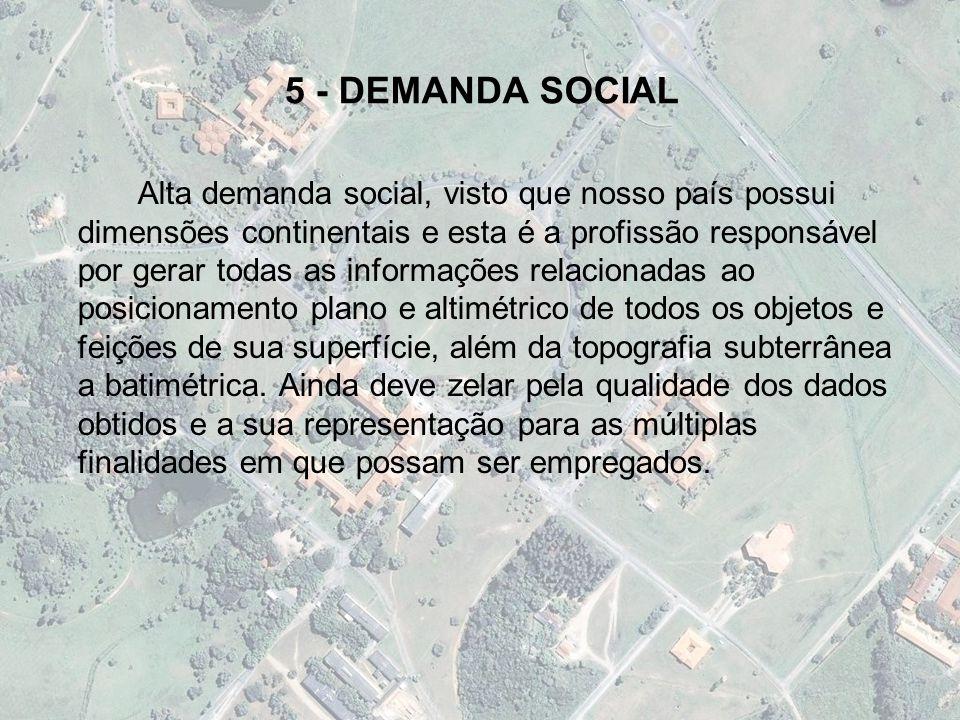 5 - DEMANDA SOCIAL Alta demanda social, visto que nosso país possui dimensões continentais e esta é a profissão responsável por gerar todas as informa