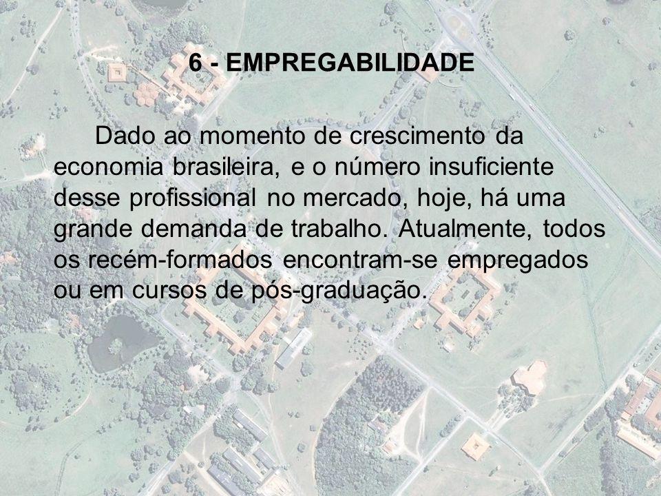 6 - EMPREGABILIDADE Dado ao momento de crescimento da economia brasileira, e o número insuficiente desse profissional no mercado, hoje, há uma grande demanda de trabalho.