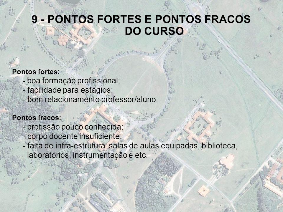 9 - PONTOS FORTES E PONTOS FRACOS DO CURSO Pontos fortes: - boa formação profissional; - facilidade para estágios; - bom relacionamento professor/alun