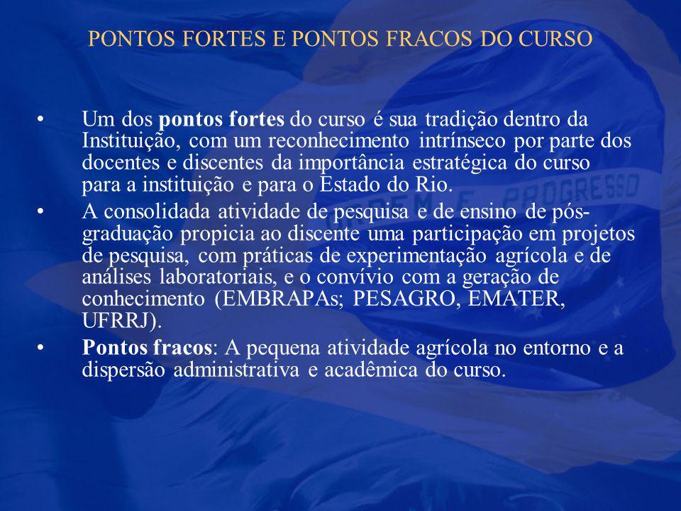 PONTOS FORTES E PONTOS FRACOS DO CURSO Um dos pontos fortes do curso é sua tradição dentro da Instituição, com um reconhecimento intrínseco por parte
