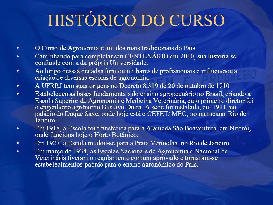 HISTÓRICO DO CURSO O Curso de Agronomia é um dos mais tradicionais do País. Caminhando para completar seu CENTENÁRIO em 2010, sua história se confunde