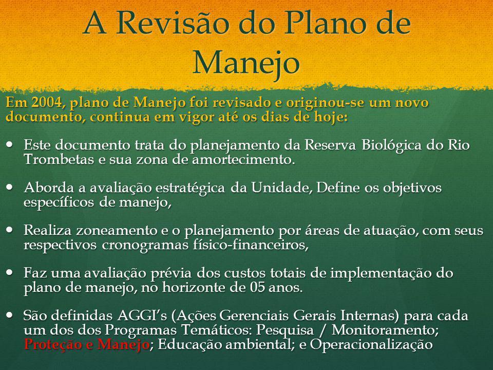 A Revisão do Plano de Manejo Em 2004, plano de Manejo foi revisado e originou-se um novo documento, continua em vigor até os dias de hoje: Este docume